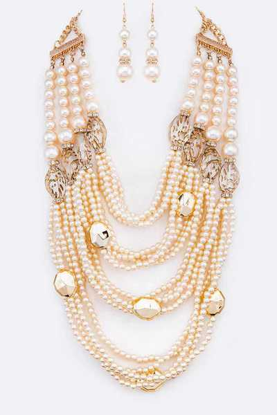 String Pearl Layer Statement Necklace Set
