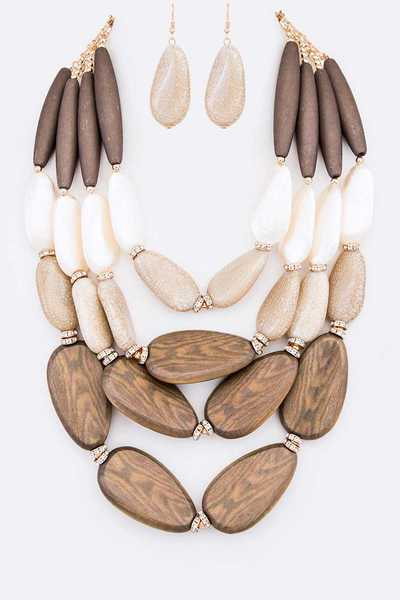 Mix Media Natural Tone Statement Necklace Set