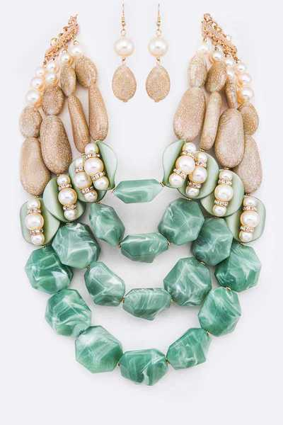Resin Stone Statement Layer Necklace Set
