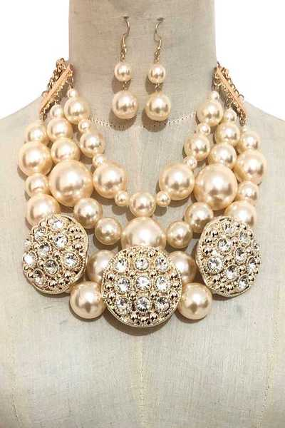 Crystal Ornate Pearl Layer Necklace Set