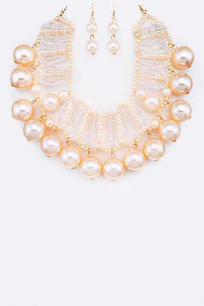 Acrylic Pearl Statement Necklace Set