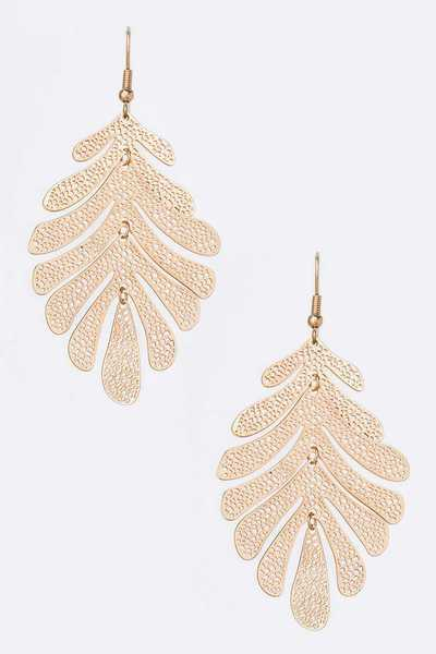 Matted Finish Filigree Leaf Earrings