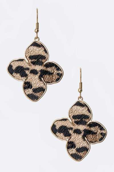 Animal Print Clover Drop Earrings