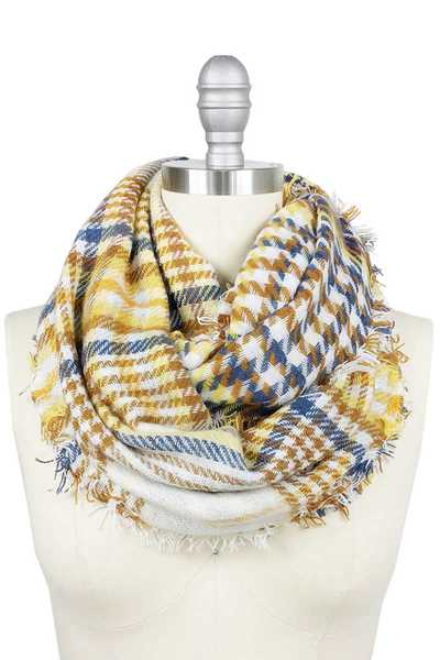 PLAID DOUBLE SIDE INFINITY SCARF