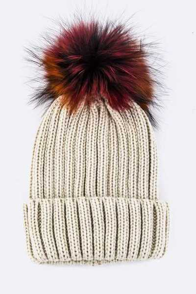 Mix Color Raccoon Fur Pom Pom Beanie