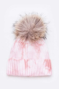 Raccoon Fur Pom Tie Dyed Cotton Blend Beanie