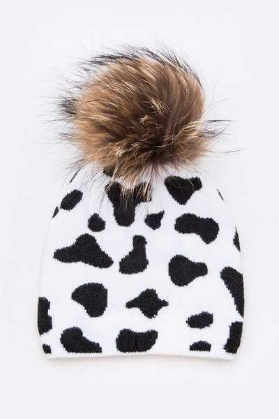 Mix Print Raccoon Fur Pom Iconic Beanie