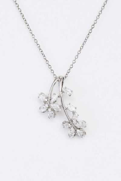 CZ Flower Drop Pendant Necklace Set