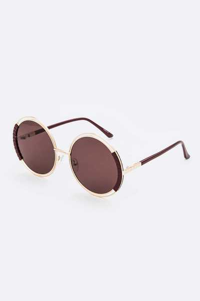 Contrast Color Iconic Oversize Round Sunglasses Set