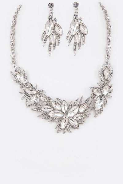 Mix Crystal Flower Statement Necklace Set