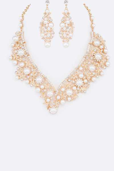 Mix Pearl Statement Necklace Set