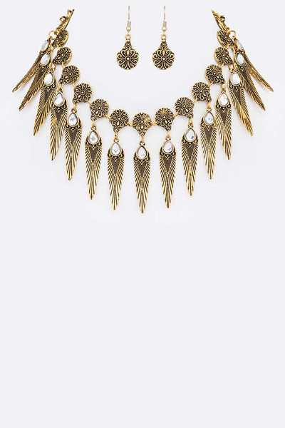 Metal Feather Statement Collar Necklace Set