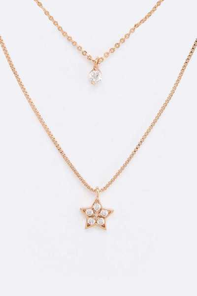 CZ Layer Star Pendant Necklace