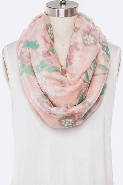 Floral Print Soft Infinity Scarf