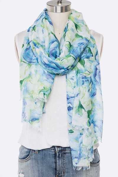 Floral Printed Raw Edge Oblong Scarf