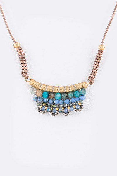 Mix Beads Iconic Pendant Leather Necklace