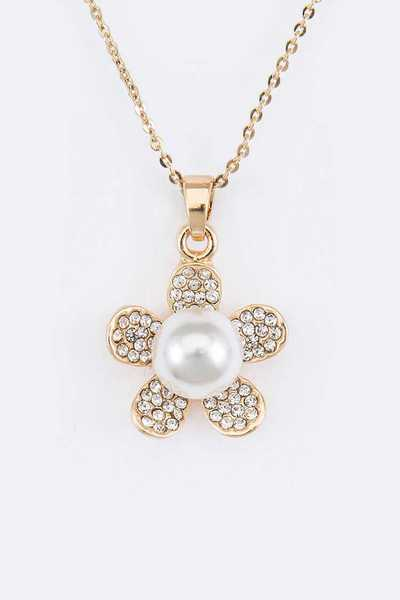 Crystal Flower Pearl Pave Pendant Necklace Set