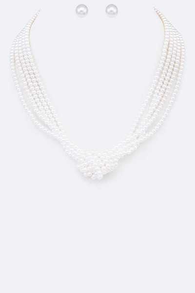 Knotted Pearl String Necklace Set