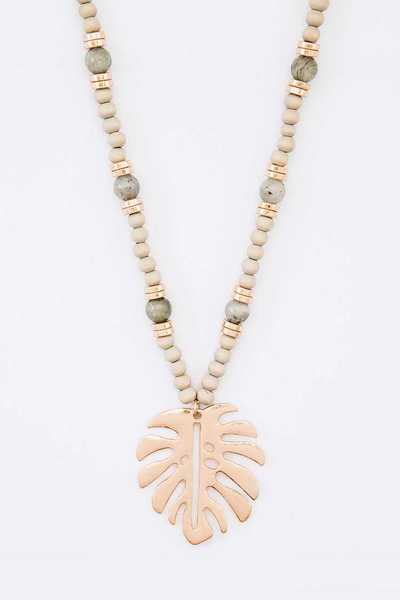 Palm Leaf Pendant Mix Genuine Beads Long Necklace