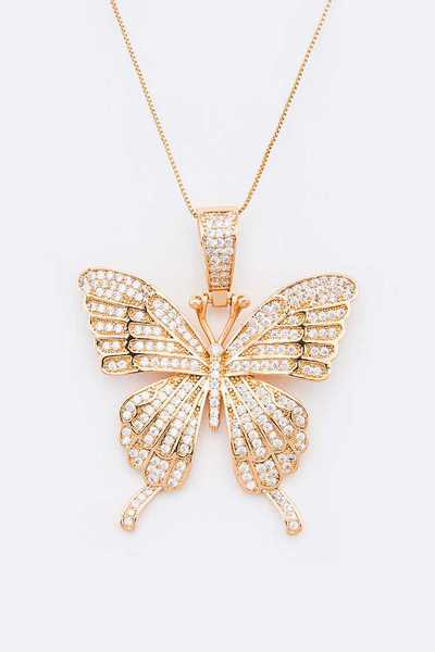 CZ Pave Butterfly Pendant Necklace
