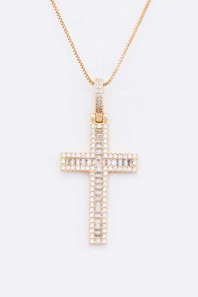 Cross Baguette CZ Pendant Necklace