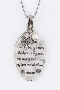 Engraved Love Quote Spoon Necklace