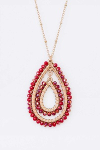 Beaded Tear Drop Pendant Necklace