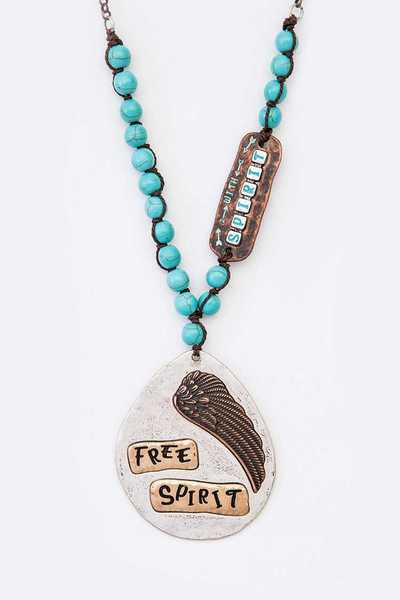 Free Spirit Mix Media Beaded Pendant Necklace
