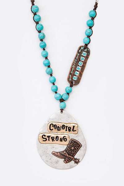 Cowgirl Strong Engraved Mix Media Pendant Necklace
