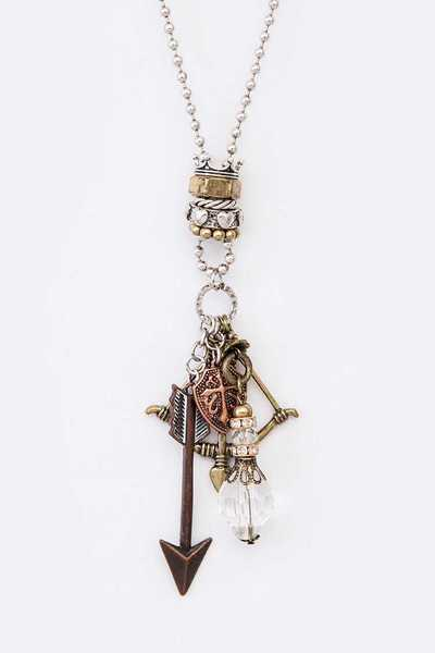Bow And Arrow Mix Charm Pendant Necklace