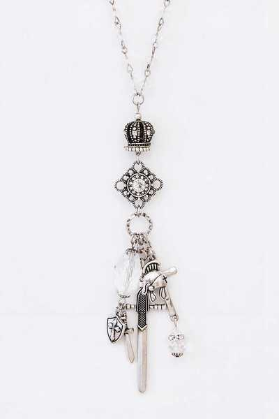 Mix Charm Armor And Crown Pendant Necklace