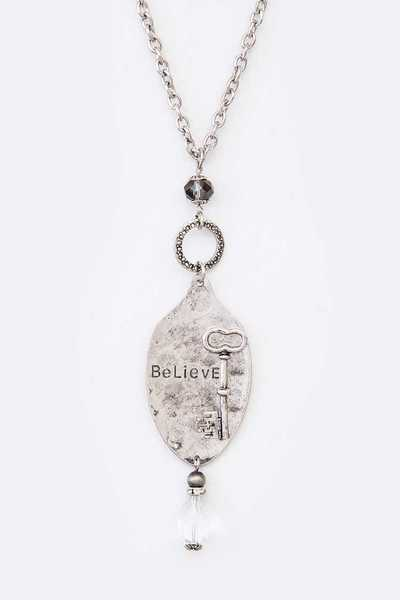 BELIEVE Engraved Spoon Message Pendant Necklace
