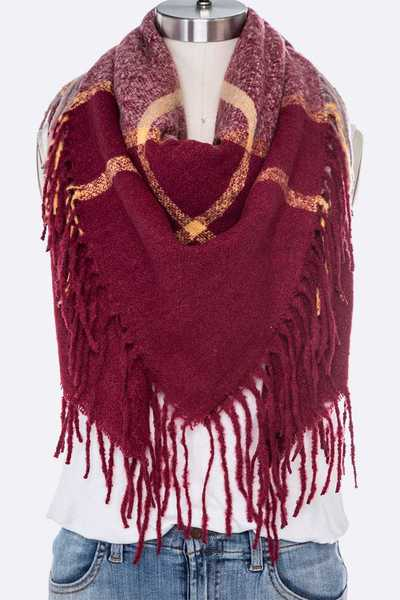 Long Fringe Soft Blanket Scarf