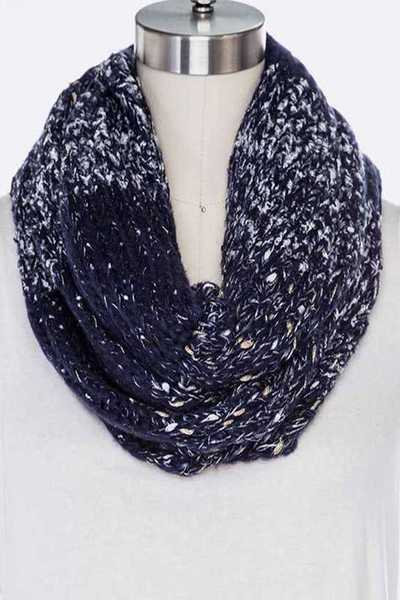 Lurex Space Knit Soft Infinity Scarf