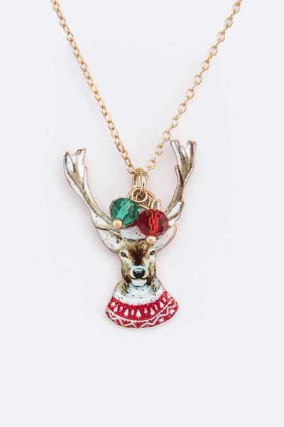 Reindeer Christmas Pendant Necklace Set