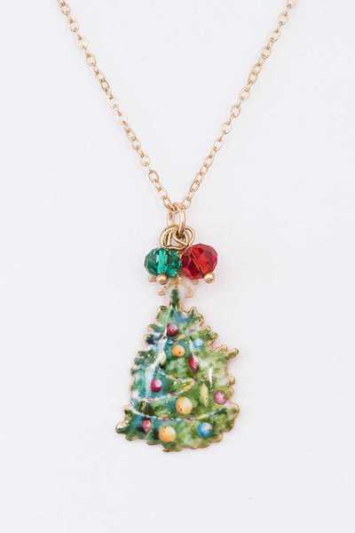 Christmas Tree Pendant Necklace Set