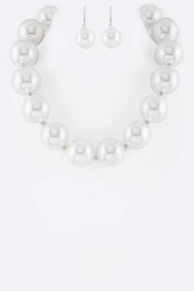 Jumbo Pearl Statement Collar Necklace Set