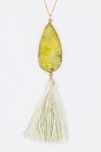 Teardrop Druzy & Tassel Pendant Necklace