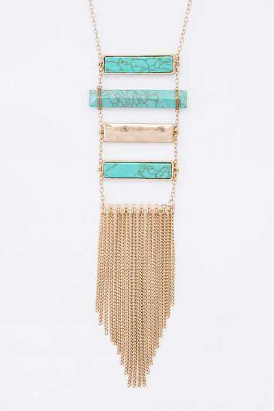 Turquoise Bar And Tassel Pendant Necklace