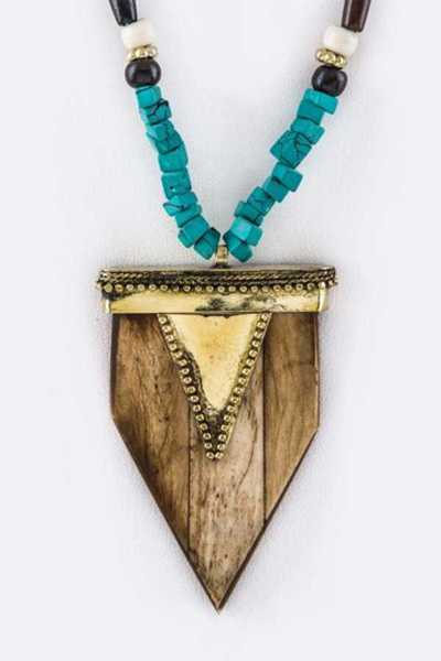Wooden Shield Tribal Beaded Long Pendant Necklace
