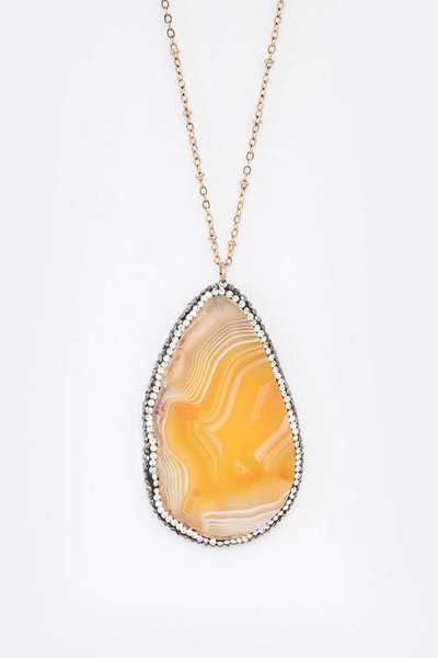 Crystal Pave Agate Pendant Necklace