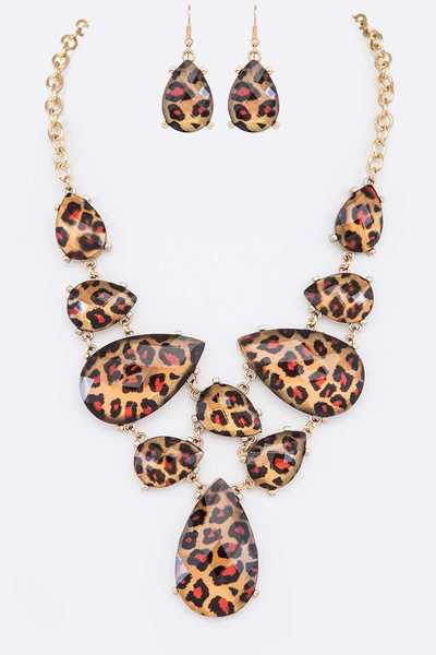 Leopard Printed Statement Necklace Set