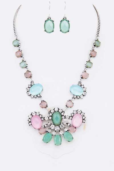 Crystal Bejeweled Statement Necklace Set