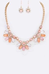 Crystal Cleared Statement Flower Necklace Set
