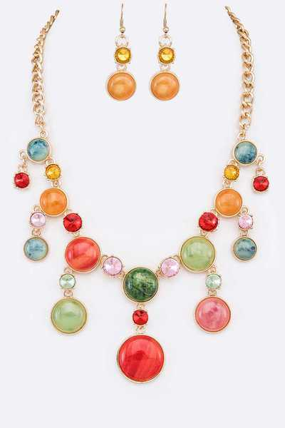 Crystal & Stone Statement Necklace Set