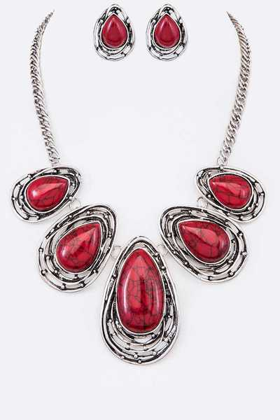 Stone & Metal Teardrops Statement Necklace Set