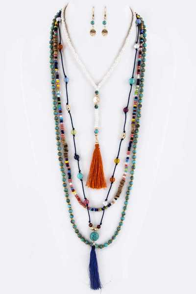 Mix Beads & Tassels Layer Necklace Set