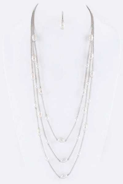 Mix Pearls Stationed Layer Necklace Set