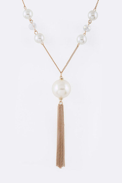 Pearl Station Chain Tassel Layered Necklace Set