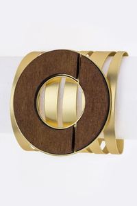 Wooden Ring Metal Cuff